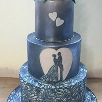 Airbrushed and carved wedding cake
