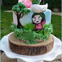 Sarah and Duck painted cake