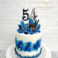 Blue explosion birthday cake