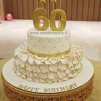 White and Gold theme customized 2 tier designer fondant cake for Dad's 60th birthday