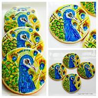 Hand Painted Peacock Cookies