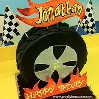 """Hot Wheels"" themed birthday cake"