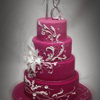 Strawberry pink with elegant swirls by Antonella Di Maria