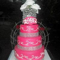 Hot pink Quinceanera cake