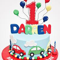 Cars and Balloons Birthday cake
