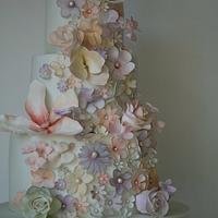 Tumbling pastel flowers