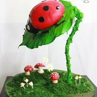 Gravity Defying Ladybug Cake