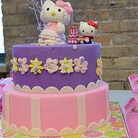 hello kitty themed 5th birthday cake