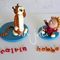 Calvin and Hobbes cake toppers