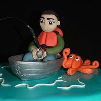 Marlin fishing cake