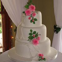 Fondant Drapes and Pink Sugar Roses