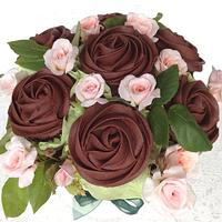 Dark chocolate cupcake bouquet with baby roses by Shani's Sweet Creations