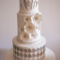 Art Deco Theme White Wedding Cake