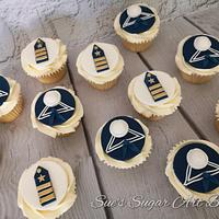 Navy themed cupcakes