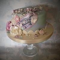 Vintage themed birthday cake