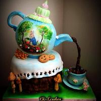 Hand painted Beatrix potter theme cake