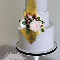 Gilded floral cake