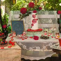 PDCA collaboration Rustic rose dessert table