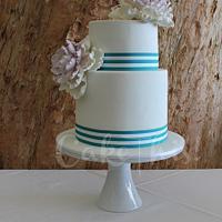 Pink Ombre Sugar Peony Wedding Cake