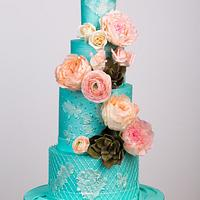 Spring is Here Wedding Cake , Teal and Coral