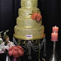 Golden Henna piping Wedding Cake
