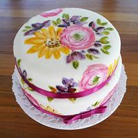 hand painted two tiers cake with strawberry-pistache sponge