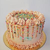 Sprinkles & stripes birthday cake