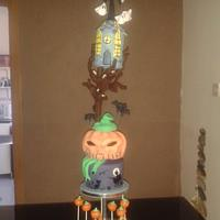 halloween tower cake