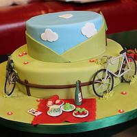 French Honeymoon/60th birthday gardening cake!