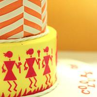 Colours Of Life-Indian tribal Warli art on cake
