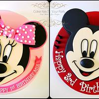 Mickey and Minnie Mouse- joint birthday cakes!