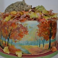Hand painted Autumnal cake