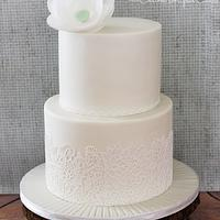Lace & Wafer Paper Flower Wedding Cake