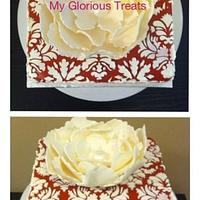 Red & White Damask with giant fantasy flower by funni