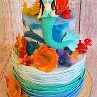 Mermaid, Dolphins & Coral Cake