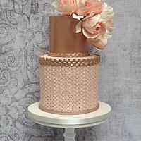 Blush and rose gold birthday cake