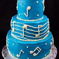 Blue and White Musical Birthday Cake