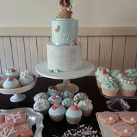 Mermaid birthday cake, cupcakes and cookies for Poppy
