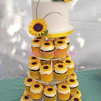 Sunflowers themed wedding cupcake tower