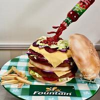 Fountain Hambuger cake