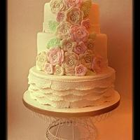 Flower and lace crochet wedding cake