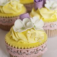 Lilac and lemon cupcakes by Scrummy Mummy's Cakes