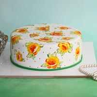 Vintage hand painted cake