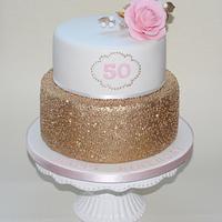 Golden elegant birthday cake