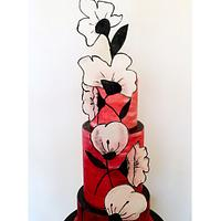 Brush painted cake with wafer paper detail