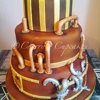 Steampunk Wedding Cake by Cherry's Cupcakes