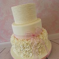 Ivory Pearls & Ruffles Wedding Cake