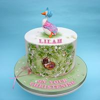 Beatrix Potter themed christening cake