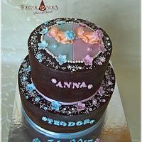 Ganache christening cake