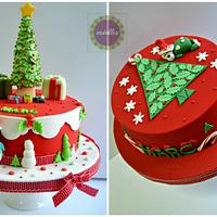 Two Christmas first birthday cakes for same boy